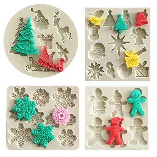 Set of 4 Christmas Fondant Molds, Xmas Cake Cupcake Decoration Silicone Chocolate Candy Mold, Christmas Tree/Gingerbread Man/Reindeer/Snowflake/Santa Claus Xmas Decor Resin Clay Molds