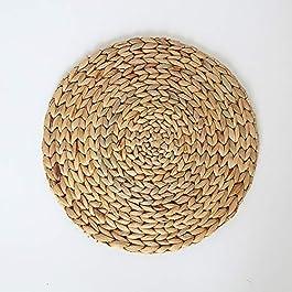 CHZIMADE Sets de table ronds en rotin naturel et paille de maïs tissée, isolation thermique