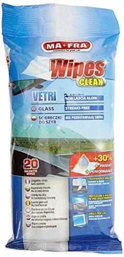 Ma-Fra 8005553015763 Wipes Clean, Salviette per Vetri Auto, Brillantezza e Trasparenza Garantiti, Panni Monouso Ideali per Parabrezza e Schermi LCD, Non Lasciano Aloni, 20 Pezzi