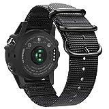 Fintie Band Compatible with Garmin Fenix 5X Plus/Tactix Charlie Watch, 26mm Premium Woven Nylon Adjustable Replacement Strap Compatible with Fenix 5X / 5X Plus / 3/3 HR Smartwatch (Black)