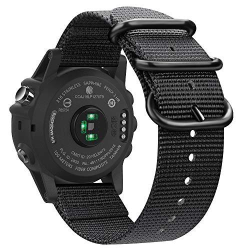 Fintie Band Compatible with Garmin Fenix 5X Plus/Tactix Charlie Watch, 26mm Premium Woven Nylon Adjustable Replacement Strap Compatible with Fenix 5X / 5X Plus / 3/3 HR Smartwatch, Black
