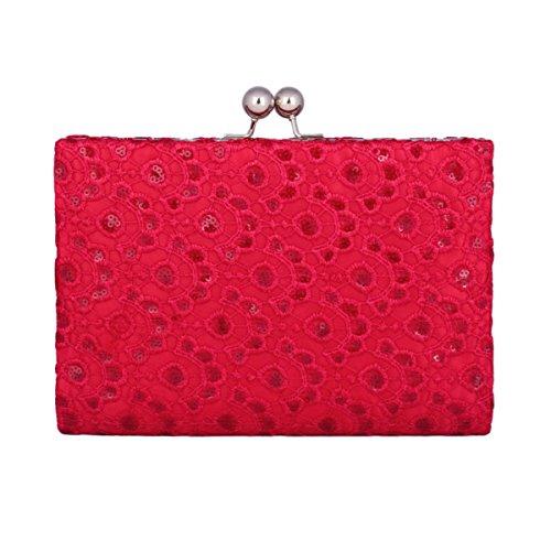 Damara Klassisch Damen Party Spitze Groß Abendtasche Mit Pailletten,Rot