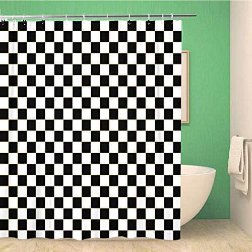 Topyee Shower Curtain Chequered Checkered Flag Racing White Race Car Line Auto 66x72 Inches Waterproof Polyester Bathroom Decor Curtain Set with Hooks