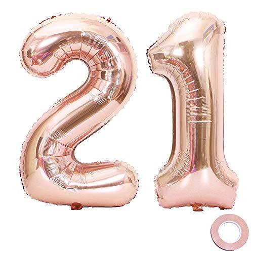 Juland Luftballons 21. Geburtstag XXL Riesen Folienballon Zahl 21 12 Rose Gold Nummer Ballons Große Folienmylar-Ballons 40-Zoll-Riesen-Jumbo-Zahl-Ballons zum 21. Geburtstag Partydekorationen