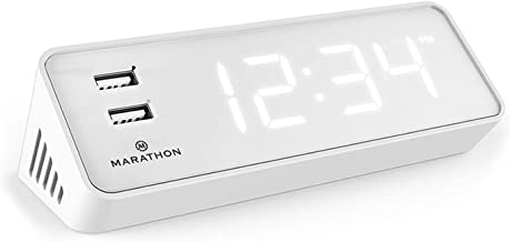Marathon CL030055WH USB Clock Charger with 2 Charging Ports. Hotel Collection with Universal AC Adapter. Backup Batteries Included. Color – White Case with White LED Digits. 2019 Edition.