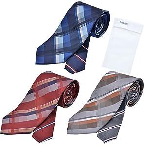 メンズ ウーノ 洗えるネクタイ 3本セット 洗濯ネット1個付き 撥水加工 ウォッシャブル加工 une-3set チェック