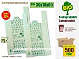 BUSTE SHOPPER BIODEGRADABILI COMPOSTABILI Cm 30+18x60 | SCATOLA DA 500 SACCHETTI, CONFORMI NORMATIVA EN13432