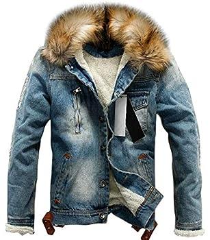 chouyatou Men s Winter Stylish Faux Fur Collar Sherpa Lined Distressed Denim Trucker Jacket  X-Large Blue