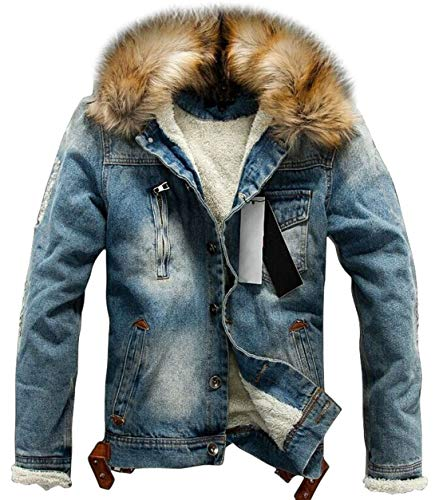 chouyatou Men's Winter Stylish Faux Fur Collar Sherpa Lined Distressed Denim Trucker Jacket (Large, Blue)