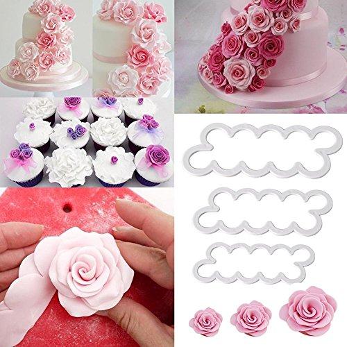 Jingyuu lot de 3 Emporte-Pieces Rose Petal Sugarcraft Moules a Patisserie Tampon Pour Decoration Gateaux Sugar Craft Patisserie Fondant Cuisine Outil Ustensile