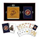 USMC Flask and Marine Corps Playing Cards Set - Gift for Marines
