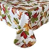 Newbridge Rustic Fall Acorn and Leaf Print Autumn Vinyl Flannel Backed Tablecloth - Linen Look...