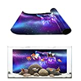Fantasy Star Aquarium Background Aurora Wolf Blue Purple Starry Sky Fish Tank Wallpaper Easy to Apply and Remove PVC Sticker Pictures Poster Background Decoration 20.4' x 36.4'