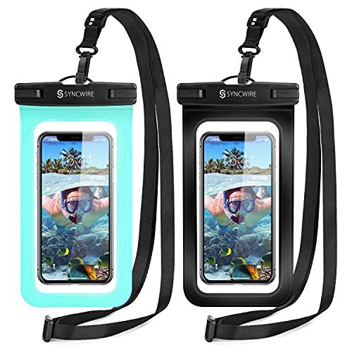 Syncwire Wasserdichte Handyhülle [7 Zoll, 2 Stück] Handy Wasserschutzhülle IPX8 Doppelt Versiegelt Unterwasser Handyhülle für iPhone 12 11 Pro XS Samsung Galaxy S9+ und...
