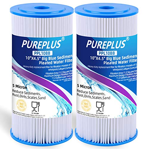 10' x 4.5' Whole House Big Blue Pleated Sediment Filter for Well Water, Replacement Cartridge for DuPont WFHDC3001, GE FXHSC, Culligan R50-BBSA, Pentek R50-BB, American Plumber W50PEHD, GXWH40L, 2Pack