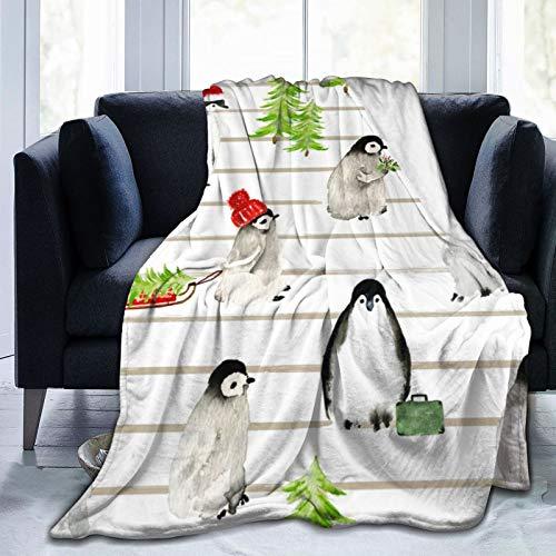 DSFSDF Weiche Decke mit Streifen zum Waddling Through The Snow; modisches Geschenk für alle Jahreszeiten; warmes, leichtes Micro-Fleece; Anti-Pilling-Flanell-Decken