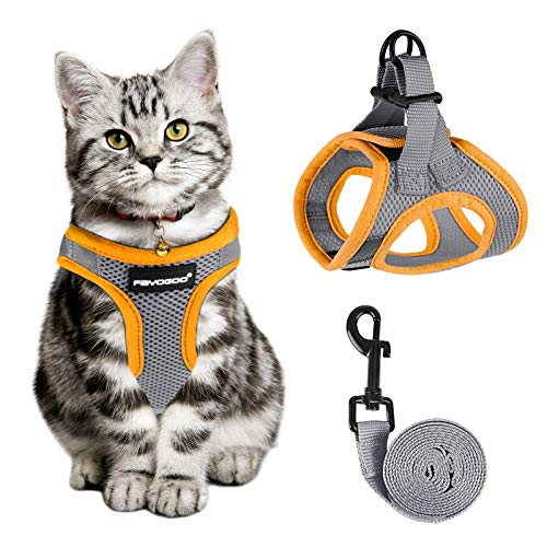 Cat Harness and Leash for Walking Escape Proof, Adjustable Cat Leash and Harness Set, Lifetime Replacement, Lightweight Kitten Harness, Easy Control Breathable Cat Vest with Reflective Strip