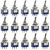 Sourcingmap Veh/ículo DPDT 5 Pin 12V 20A Interruptor Basculante Moment/áneo Pulsador Elevalunas Negro
