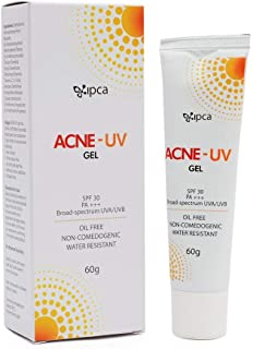 IPCA Acne-UV Oil Free Gel,SPF 30 PA+++, UVA/UVB/VISIBLE LIGHT, Very Water Resistant Sunscreen 60G