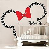 Minnie Mouse Wandtattoo Von der Maus inspirierte Ohren mit Schleife und personalisiertem Babynamen Minnie Mouse inspirierte Kinderzimmerdekoration