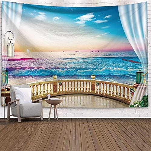 Ventana de imitación paisaje tapiz colgante de pared árbol tropical tapiz artista decoración del hogar mar amanecer A13 180x230cm