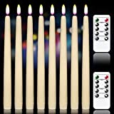 GenSwin Flameless Flickering Taper Candles with 2 Remote Controls and Timer, Real Wax Battery Operated LED Light Window Candles Pack of 8, Christmas Home Wedding Decor(Ivory, 0.78 X 11 Inch)
