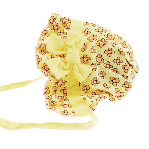 Glamour Girlz Bonnet de soleil à nouer pour bébé fille en coton doux Motif floral Rose 3–12 mois (grande fleur jaune)