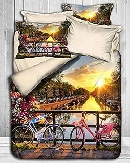 Premium Quality Perfect Design Luxury 3D Bedding Amsterdam Bicycle Bedding Set, 100% Turkish Satin Cotton Duvet Cover Set, Full/Queen Size (6 Pcs)