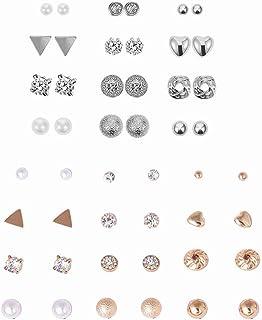 ZHjuju Set di 24 Paia di Orecchini a Bottone in Cristallo di Perle Set di Gioielli con Orecchio Carino Orecchini alla Moda...