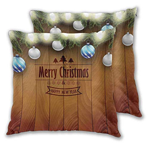 Christmas Printed pillowcase, 12 x 12 Inch Wooden Setting with Silver Balls Fairy Tale Setting and Pine Tree Twigs Wishes Theme for Home Decor Sofa Bedroom Car Christmas decoration Brown Set of 2