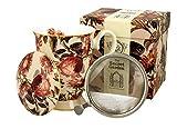 Colección Duo Secret Garden Taza 325 ml con huevo de té y tapa Peony de New Bone China Porcelana en caja de regalo, taza de té de 3 piezas Set de regalo con colador, taza con filtro