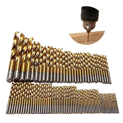 Tian 99PCS Brocas Helicoidales de HSS de Titanio 1.5mm - 10mm Micro Herramientas para Orificios para Taladros de Madera, Plástico y Aluminio