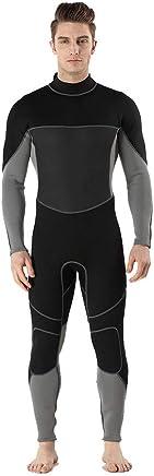 Qzvof 3Mm Neoprene Wetsuit, Men's OnePiece LongSleeved Wetsuit, Warm Wetsuit, Suitable for Snorkeling, Diving, Swimming