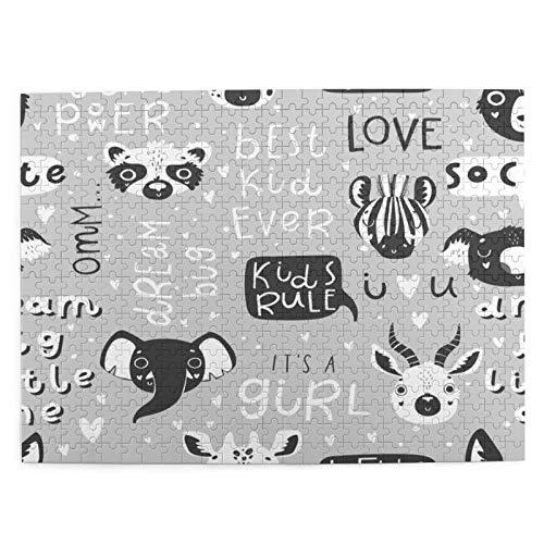 MJIAX Jigsaw Puzzles 500 Stück,Niedliche Scandi Black White Animals Kindergarten Hand gezeichnet Monochrom,Family Large Puzzle Game Artwork für Erwachsene Teens Kids