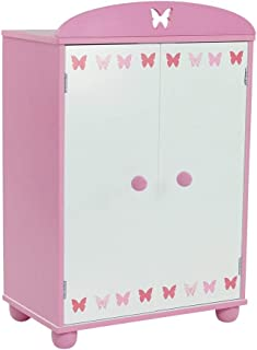 Emily Rose 18 Inch Doll Furniture for American Girl Dolls | Doll Closet Armoire with Butterfly Detail, Includes 5 Wooden D...