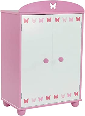 Emily Rose 18 Inch Doll Furniture for American Girl Dolls | Doll Closet Armoire with Butterfly Detail, Includes 5 Wooden Doll