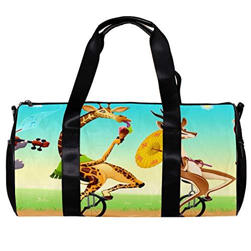Runde Sporttasche mit abnehmbarem Schultergurt, lustige Tiere auf Einrädern, Trainingshandtasche für Damen und Herren