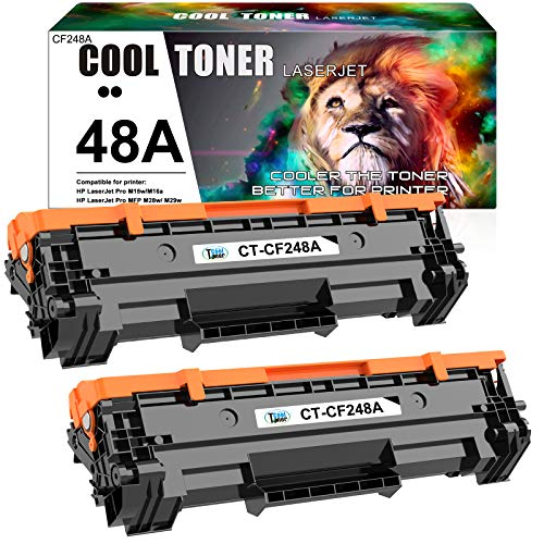 Cool Toner Compatible Toner Cartridge Replacement for HP 48A CF248A HP Laserjet Pro M15w MFP M29w M28w Toner M15a M28a M29w M29a M16w M16a M15w M15 M29 M28 M31 Toner Printer Ink (Black, 2-Pack)