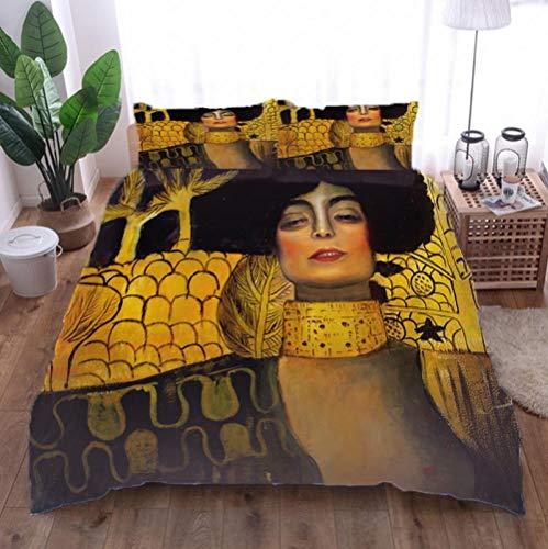 Juego de Ropa de Cama 3 Piezas Mujer Antigua Tres Piezas Home Bed Set Print Es Y Liviana Funda de Almohada de poliéster Ultra Suave Fundas 140cm x 200cm