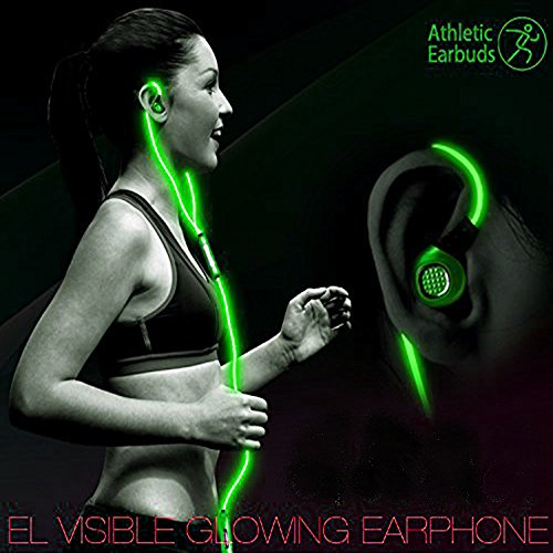 LightingCool Visible Glowing LED in-Ear Earphone Light Up Stereo sport Headphones with Mic over ear style Lights Flashing to Music Beat Wired Glow-in-the-dark Earphone for all Mobile Phones (Green)