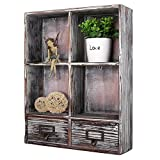 MyGift Rustic Torched Wood Wall Mounted Shadow Box w/Cubby Shelving, 2 Drawers and Label Holders, Dark Brown