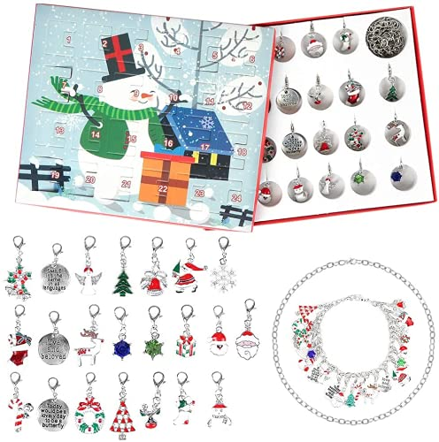 Calendario de Adviento de Navidad, 24 Pieza Pulsera de Niña Collar de Bricolaje, Sorpresa Calendario de Adviento, Navidad con Pulsera, Colgantes de Moda para Mujeres