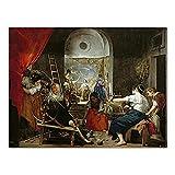 HJKLP Lienzo Pintura Famosa Diego Velázquez Los hilanderos Arte de Pared clásico Impresiones de Poster estéticos Telón de Fondo Decoracion Interior de la casa 50x70cm sin Marco