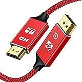 DisplayPort to HDMI 変換 ケーブル 1.8m DP to HDMIケーブル 4K ディスプレイポート-HDMI 変換 映像・音声同期出力 ナイロン編み保護 レッド