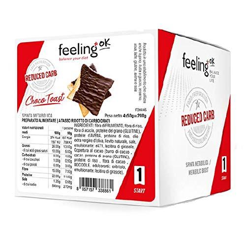 FeelingOK Choco Toast Start, Snack A Basso Indice Glicemico, 4x50 Grammi