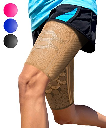 Sparthos Thigh Compression Sleeves (Pair) – Upper Leg Sleeves for Men and Women Support for Improved Blood Circulation Quad and Hamstring Recovery Sports Running Tennis Workout Basketball (Beige-M)
