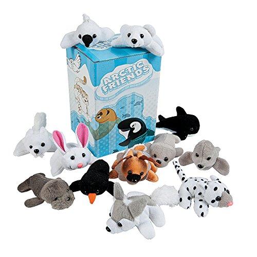 Mini Arctic Friends Stuffed Animal Assortment with Box - Set of 24 Wolf, Seals, Penguin, Polar Bear, Walrus, and More