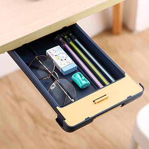 Under Table Drawer Organizer, Under Desk Pencil Tray Hidden Self-Adhesive Desktop Drawer, for Office Home School Kitchen Table Storage(Blue)