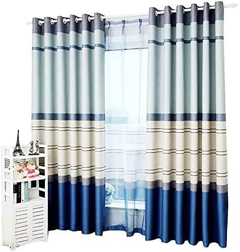 RR & LL gordijnen Koreaanse gordijnen dikke verduisteringsgordijnen kinderkamer kant-en-klare gordijnen eenvoudige gestreepte gordijnen (grootte: breedte 250 hoogte 270 cm (gordijn)) Width 350*height 270cm (curtain) 1