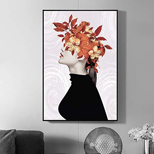 Poster Garland Girl Painting Head With Leaf Nordic Abstract Wall Art Modern Minimalist Black White Girl Home Decor 60x90cm